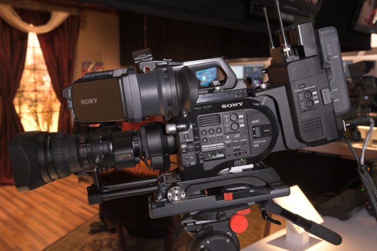 LA-EB1 E/B4 Mount adapter seen mounted on an FS7 rigged for use on the shoulder.