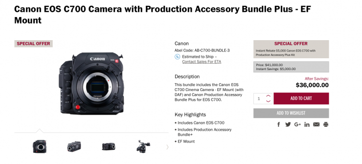 $5000 off the Canon C700