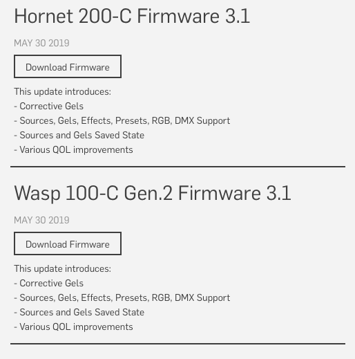 Hive firmware updates for the Wasp, Hornet & Bee