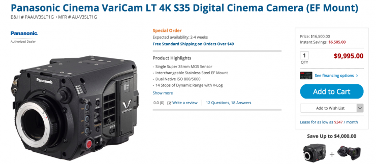 Panasonic drops the price of the Varicam LT to $9,995