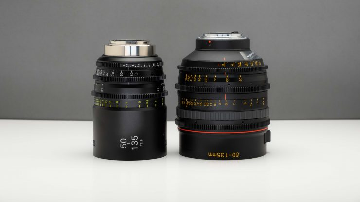 Tokina 50 135 MKI and MKII side
