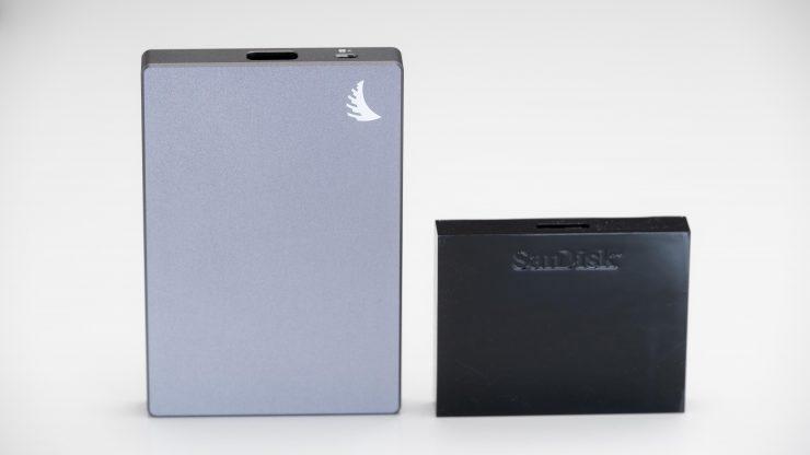 Anglebird CFast Card next to SanDisk reader