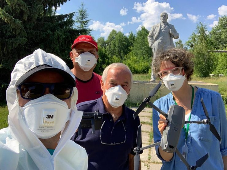 Chernobyl Drone team with Dave Butler CBRN expert and Julia Karmo