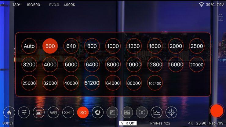 Z Cam App ISO