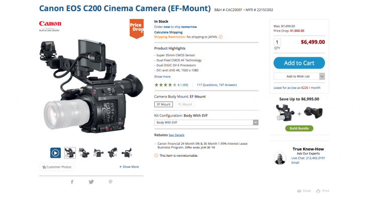 Canon C200 price drop - Newsshooter