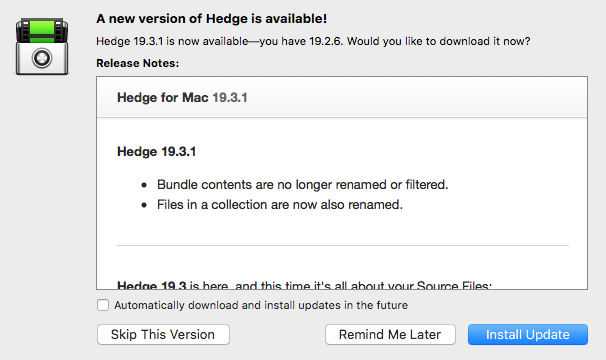 HEDGE 19.3 – Organize your media during a transfer, not after