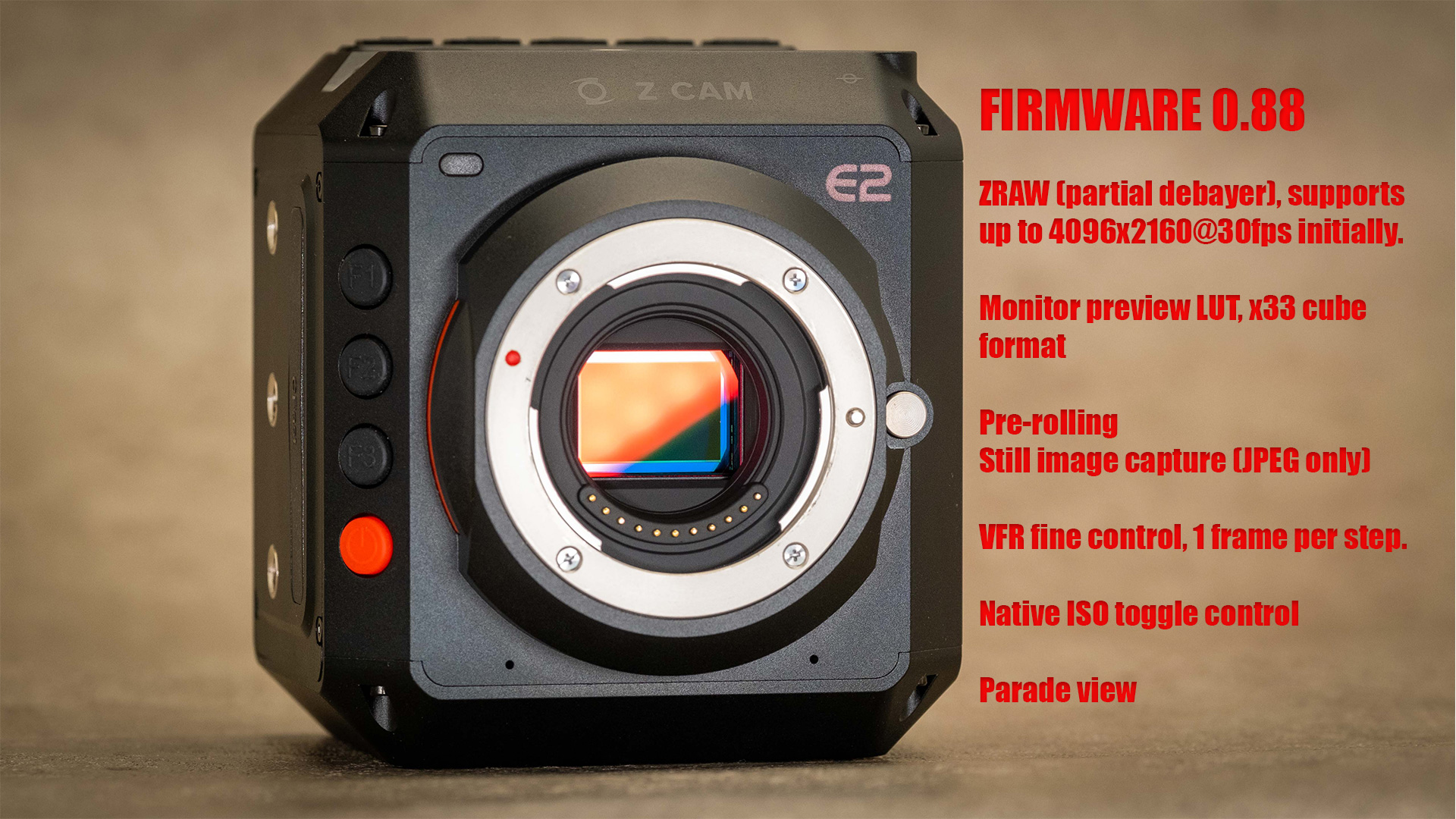 Z Cam adds ZRAW with E2 firmware update