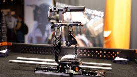 Bright Tangerine C500 Mk II Left Field Cage Newsshooter at IBC 2019