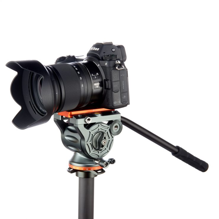 AirHed Cine tripod head with a Nikon camera mounted