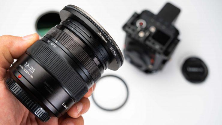 Sandmarc Hybrid Pro ND 58 to 77 on Lumix lens