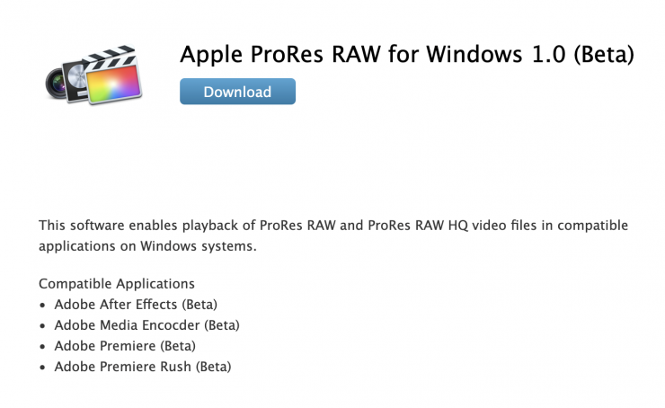 Apple releases ProRes RAW software for Windows 10 PCs
