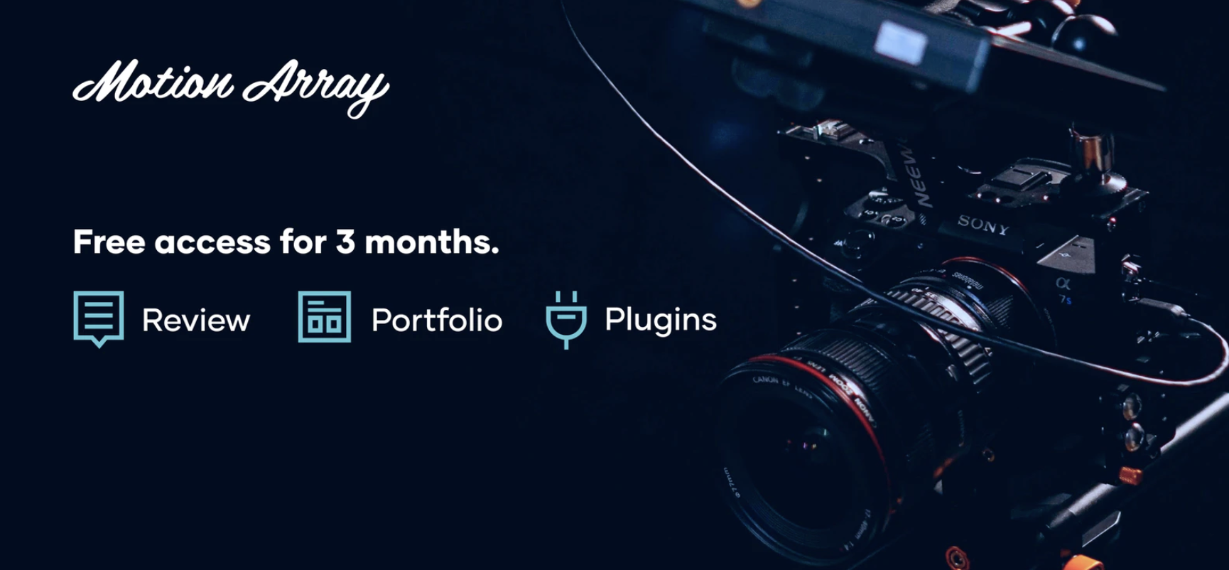 Motion Array Premiere Pro plugins library, Video Review, & Video Portfolio Builder are Free for the next 3 months