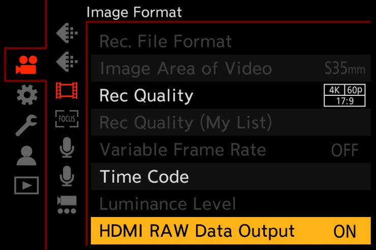 S1H Menu HDMI RAW 01