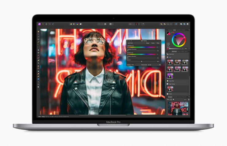Apple macbook pro 13 inch with affinity photo screen 05042020