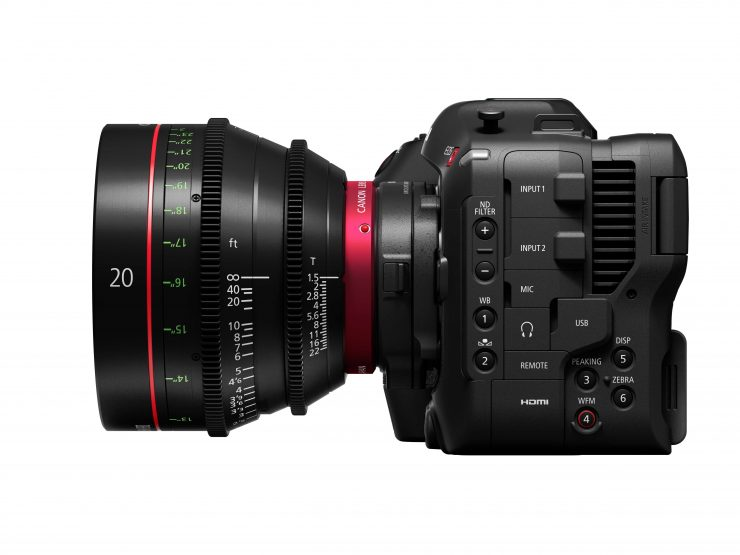 EOS C70 Left with adapter and EF 24 70mm f2 8L II USM