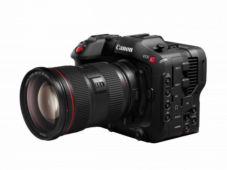EOS C70 slant left with adapter and EF 24 70mm f2 8L II USM