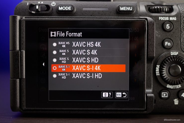 Sony FX3 Menu File Format