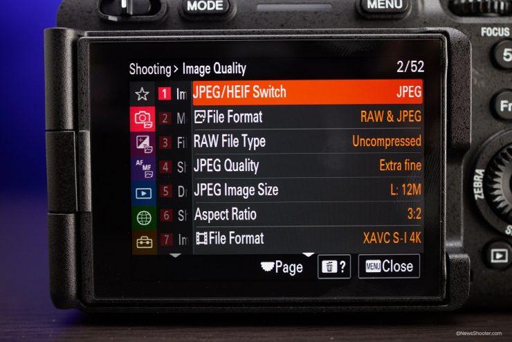 Sony FX3 Menu Photography Settings