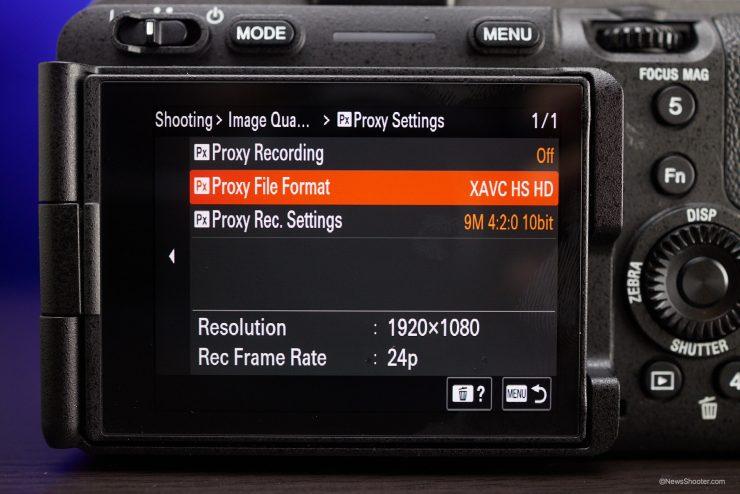 Sony FX3 Menu Proxy