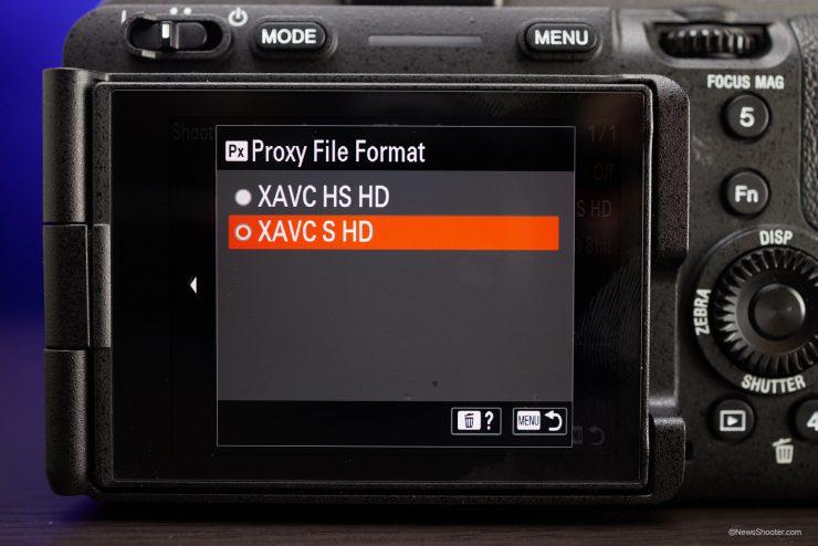 Sony FX3 Menu Proxy File Format