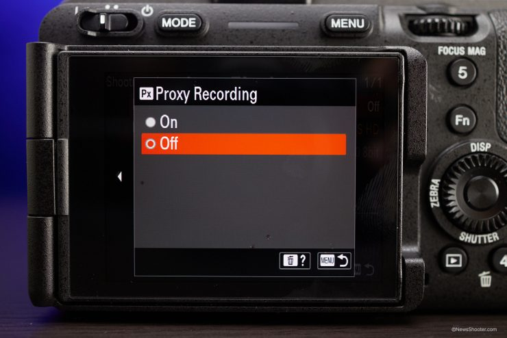 Sony FX3 Menu Proxy Recording