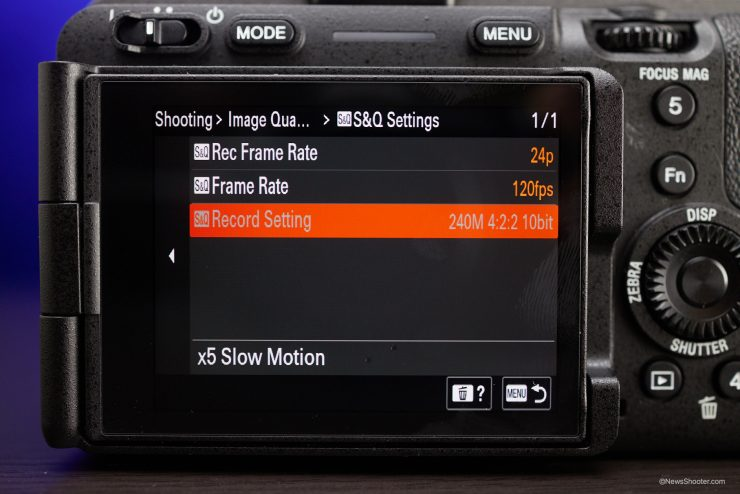 Sony FX3 Menu S Q