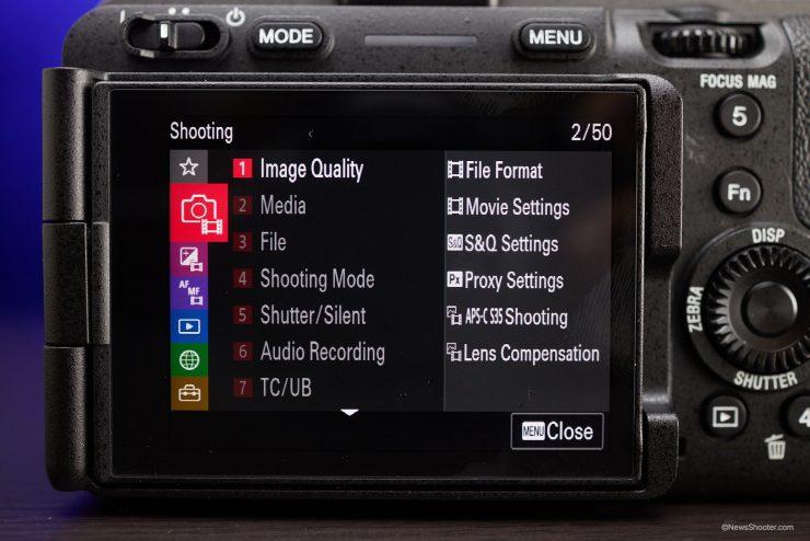Sony FX3 Menu Shooting