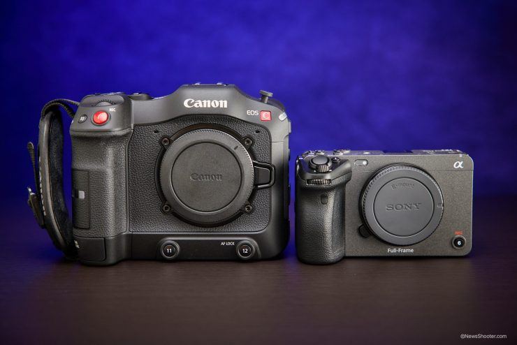 Sony FX3 Canon C70 side by side
