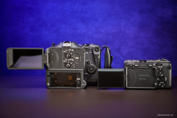 Sony FX3 Canon C70 side by side LCD