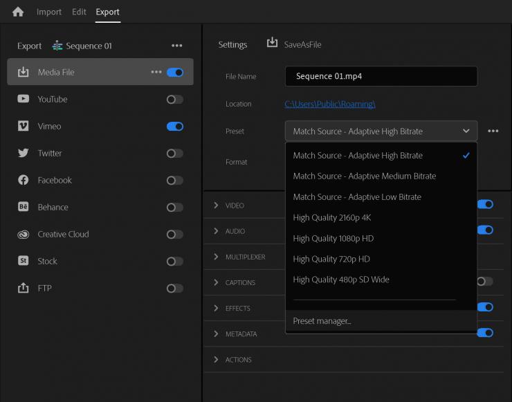 Premiere Pro Beta New Export Preset Dropdown