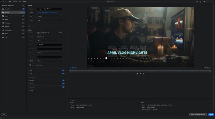 Premiere Pro Beta New Export Workflow