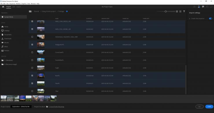Premiere Pro Beta New Import List View