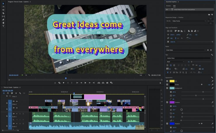 Premiere Pro Improved Titling and Caption Tools
