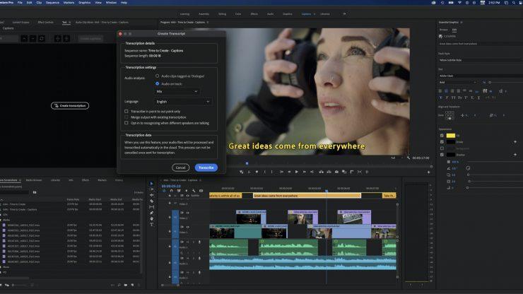 Premiere Pro Speech to Text Generate Transcript copy