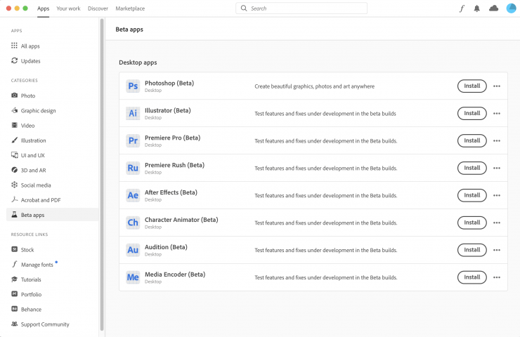 Adobe Beta Apps